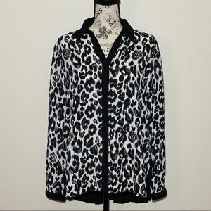 Chico's Button Down Cheetah Print Size 1